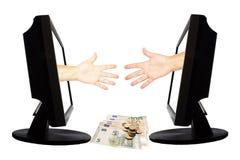 Jeu virtuel par forme de main d'Internet de la pierre de papier de ciseaux sur le fond blanc avec l'argent - concept 5 d'affaires Photos libres de droits