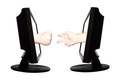 Jeu virtuel par forme de main d'Internet de la pierre de papier de ciseaux sur le fond blanc - concept d'affaires d'Internet Image libre de droits