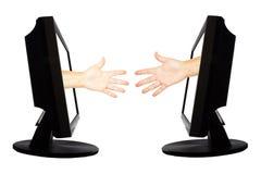 Jeu virtuel par forme de main d'Internet de la pierre de papier de ciseaux sur le fond blanc - concept 5 d'affaires d'Internet Images stock