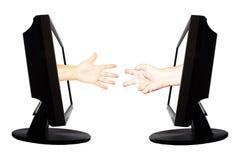 Jeu virtuel par forme de main d'Internet de la pierre de papier de ciseaux sur le fond blanc - concept 6 d'affaires d'Internet Photographie stock libre de droits