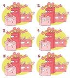 Jeu visuel de paires de match : Cadeaux Photo stock