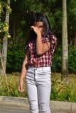 Jeugdig Filipina Girl Crying royalty-vrije stock foto's