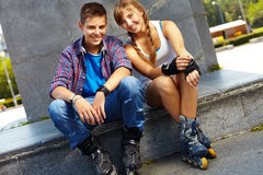 Jeugdige schaatsers Stock Foto