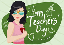 Jeune éducateur féminin frais Celebrating Teachers Day, illustration de vecteur Photo stock