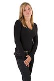 Jeune équipement blond de noir de verticale de femme Images stock