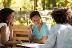 Jeune étude multi-ethnique concentrée d'étudiants d'amis Photo libre de droits