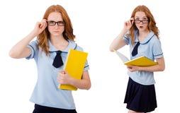Jeune étudiant avec des carnets d'isolement sur le blanc Photo libre de droits