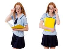 Jeune étudiant avec des carnets d'isolement sur le blanc Photographie stock