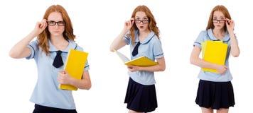 Jeune étudiant avec des carnets d'isolement sur le blanc Photos stock