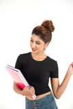 Jeune étudiant féminin attirant photo stock