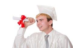 Jeune étudiant masculin reçu un diplôme du lycée Image libre de droits