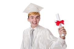 Jeune étudiant masculin reçu un diplôme du lycée Photo libre de droits