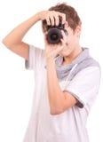 Jeune adolescent avec l'appareil-photo Image libre de droits