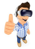 jeune adolescent 3D avec des verres de réalité virtuelle VR Photographie stock