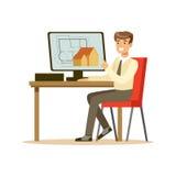 Jeune architecte de sourire travaillant sur son projet utilisant l'ordinateur, illustration colorée de vecteur de caractère illustration de vecteur