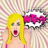 Jeune art de bruit blond sexy fâché de fille illustration de vecteur