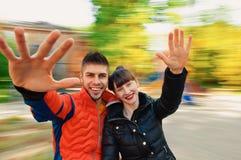 Jeune automne de couples Photos stock