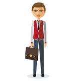 Jeune banquier avec l'illustration plate de bande dessinée de documents illustration stock
