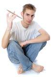 Jeune batteur tournant son bâton Photos libres de droits