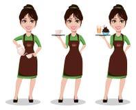 Jeune beau barman femelle dans l'uniforme illustration de vecteur