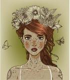 Jeune beau femme avec des fleurs illustration libre de droits