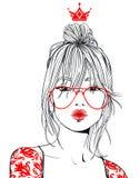 Jeune beau femme avec des glaces illustration stock