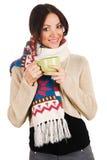 Jeune beau femme avec une cuvette de thé Photographie stock