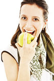 Jeune beau femme avec une pomme Image libre de droits