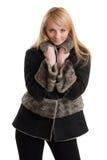 Jeune beau femme dans des vêtements de l'hiver. Image libre de droits