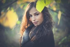 Jeune beau portrait d'automne de femme dans la forêt photographie stock
