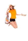 Jeune beau sauter asiatique de femme de la joie - personnes asiatiques image stock