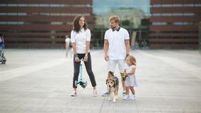 Jeune belle famille passant le temps ainsi que leur chien de briquet dans la ville pendant le jour chaud d'été clips vidéos
