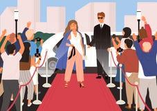 Jeune belle femme élégante, célébrité femelle, star de cinéma ou superstar posant devant des photographes pendant le rouge illustration de vecteur