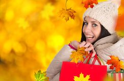 Jeune belle femme, achats d'automne photographie stock
