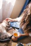 Jeune belle femme appréciant son thé de matin photographie stock libre de droits
