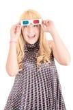 Jeune belle femme avec les verres 3d Photos stock
