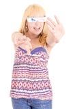 Jeune belle femme avec les verres 3d Image stock