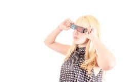 Jeune belle femme avec les verres 3d,  Photo stock
