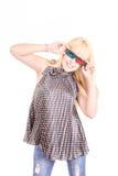 Jeune belle femme avec les verres 3d, d'isolement dessus Photographie stock
