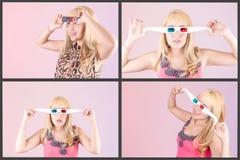 Jeune belle femme avec les verres 3d, ensemble Photographie stock