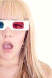 Jeune belle femme avec les verres 3d réglés Photo libre de droits