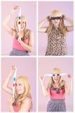 Jeune belle femme avec les verres 3d réglés Photo stock