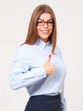 Jeune belle femme d'affaires montrant des pouces vers le haut du signe d'isolement Photographie stock