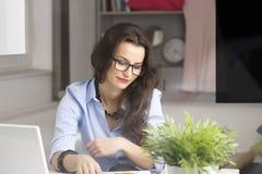 Jeune belle femme d'affaires travaillant à la maison image libre de droits