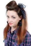 Jeune belle femme dans la rétro goupille- de style images libres de droits