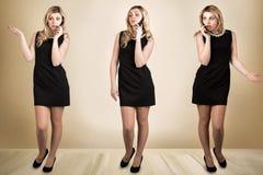 Jeune belle femme dans la robe noire parlant au téléphone portable Conversation émotive Un collage des photos images libres de droits