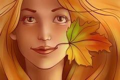 Jeune belle femme de roux avec la feuille Image libre de droits