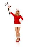 Jeune belle femme de Santa tenant le mégaphone Photos stock