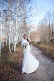 Jeune belle femme de sourire mince heureuse de fille de jeune mariée sur des WI d'automne photographie stock