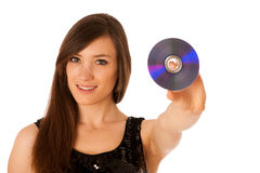 Jeune belle femme DJ avec du Cd dans sa main Image stock